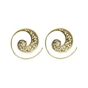 Dangle earrings Brass Tribal_pattern Spiral Leaf Plant_pattern