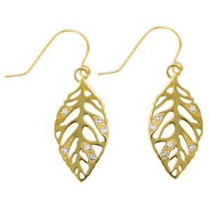 Dangle earrings Stainless Steel PVD-coating (gold color) Crystal Leaf Plant_pattern