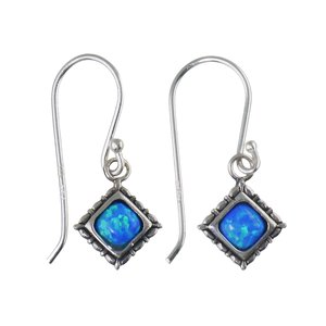 Dangle earrings Synthetic opal Silver 925