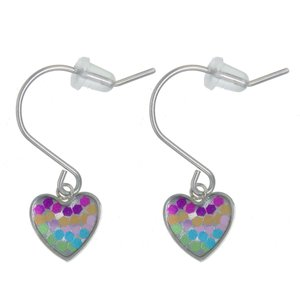 Kids earrings Stainless Steel Epoxy PVC Heart Love