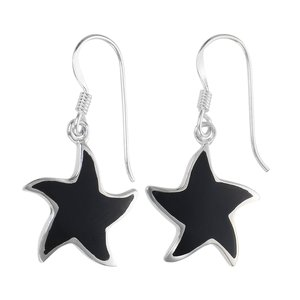 Dangle earrings Silver 925 Black onyx Starfish Star