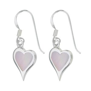 Dangle earrings Silver 925 Mother of Pearl Heart Love