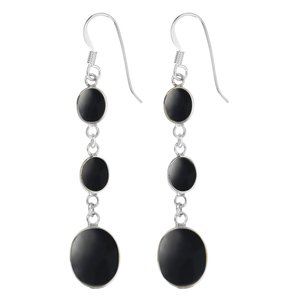 Dangle earrings Silver 925 Black onyx