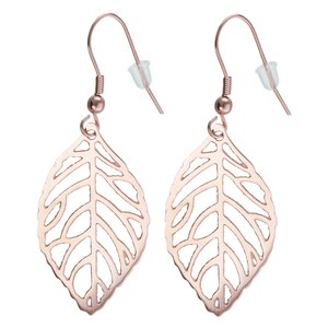 Dangle earrings Stainless Steel PVD-coating (gold color) Leaf Plant_pattern