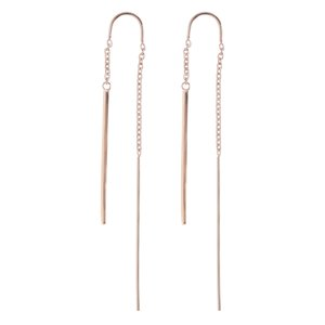 Dangle earrings Stainless Steel PVD-coating (gold color) Stripes Grooves Rills