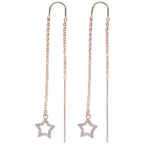 Dangle earrings Stainless Steel PVD-coating (gold color) Crystal Star