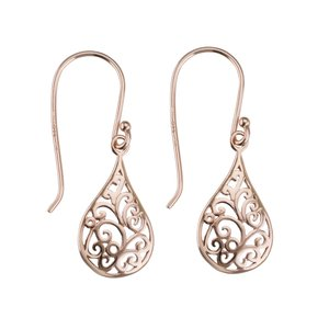 Dangle earrings Silver 925 Gold-plated Drop drop-shape waterdrop Leaf Plant_pattern