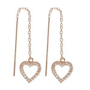 Dangle earrings Silver 925 Gold-plated Crystal Heart Love