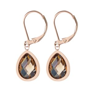 Dangle earrings Stainless Steel Crystal PVD-coating (gold color)