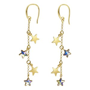 Ear studs Silver 925 Gold-plated Swarovski crystal Star