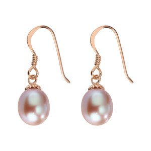 Earrings Silver 925 PVD-coating (gold color) Fresh water pearl