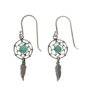 Dangle earrings Silver 925 Turquoise Dreamcatcher Feather