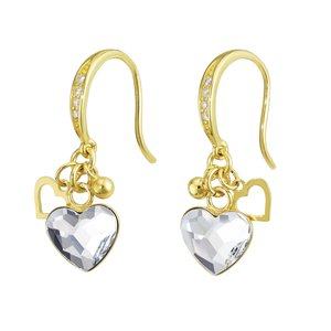Dangle earrings Silver 925 Gold-plated Swarovski crystal Heart Love