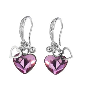 Dangle earrings Silver 925 Swarovski crystal Heart Love