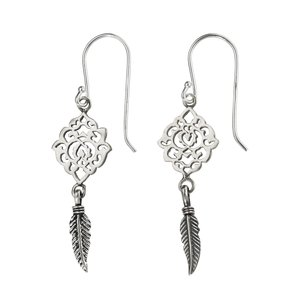 Dangle earrings Silver 925 Feather