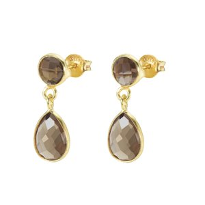 Protsaah Dangle earrings Silver 925 Gold-plated Smoky Quartz