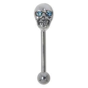 Augenbrauenpiercing Chirurgenstahl 316L Silber 925 Kristall Totenkopf Schädel Knochen