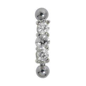 Eyebrow Pin Surgical Steel 316L Silver 925 zirconia