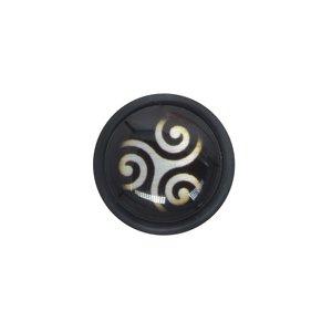 Fake-Plug Acrylglas Chirurgenstahl 316L Glas PVC Tribal_Zeichnung Tribal_Muster Spirale