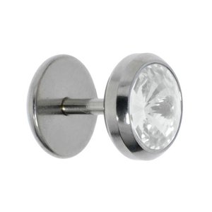Fake plug Surgical Steel 316L Crystal