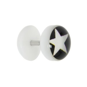 Fake plug Acrylic glass Surgical Steel 316L Epoxy Star