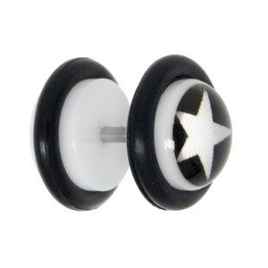 Fake-Plug Vetro acrilico Metallo chirurgico 316L Resina epossidica PVC Stella