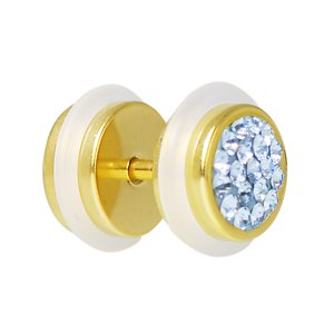 Fake plug Surgical Steel 316L PVD-coating (gold color) Crystal PVC