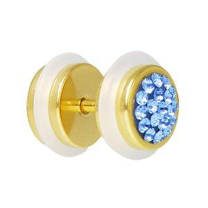 Fake-Plug Metallo chirurgico 316L Rivestimento PVD (colore oro) Cristallo PVC