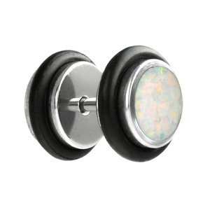 Fake plug Surgical Steel 316L Synthetic opal PVC