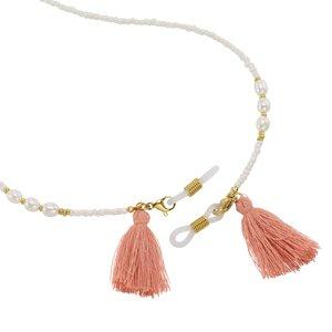 Chaîne de lunettes Acier inoxydable Revêtement PVD (couleur or) Perles d´eau douce Verre Térylène Plastique