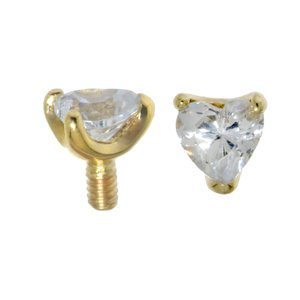 Embout Dermal-Anchor Or 14 ct Zirconia Coeur C?ur Amour
