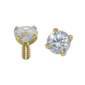 Dermal-Anchor Aufsatz Gold 14K Zirkonia