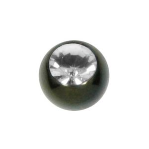 Piercingball Surgical Steel 316L Swarovski crystal Black PVD-coating