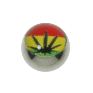 Piercingball Surgical Steel 316L Epoxy Jamaica Reggae Weed Hemp Hemp_leaf