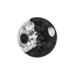 Embout de piercing Cristal Swarovski Acier chirurgical 316L Époxy Yin_Yang Taijitu