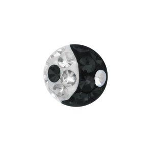Cierre de piercing cristales de Swarovski Acero quirúrgico epoxy Yin_Yang Taijitu