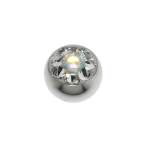 Piercingball Surgical Steel 316L Swarovski crystal Flower