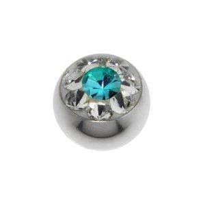 piercingsluiting Chirurgisch staal 316L Swarovski kristal bloem