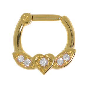 Septum piercing Surgical Steel 316L zirconia Gold-plated Heart Love Wings