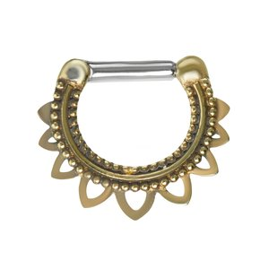 Septum piercing Surgical Steel 316L Brass Flower Leaf Plant_pattern
