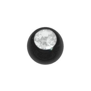 Piercing Swarovski kristal Chirurgisch staal 316L PVD laag (zwart)