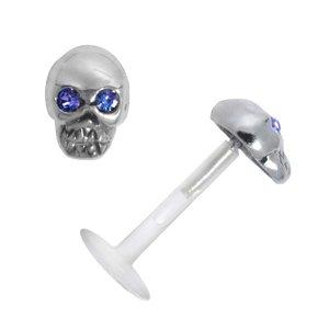 Piercing für Lippe/Tragus Bioplast Silber 925 Kristall Totenkopf Schädel Knochen
