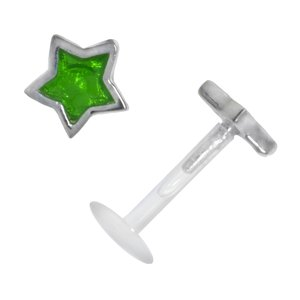 Piercing for lip/Tragus Bioplast Silver 925 Enamel Star