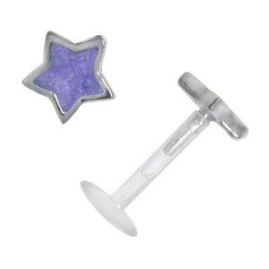 Piercing Bioplast Argent 925 Émail Étoile