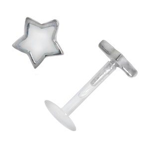 Piercing for lip/Tragus Bioplast Silver 925 Enamel Star