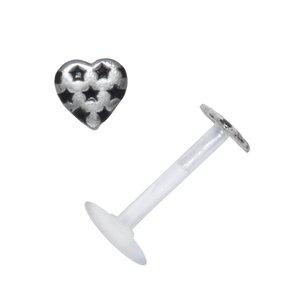 Piercing für Lippe/Tragus Bioplast Silber 925 Email Herz Liebe Stern