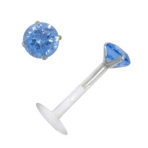 Piercing für Lippe/Tragus Bioplast Silber 925 Zirkonia