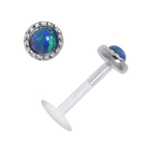 Piercing for lip/Tragus Bioplast Silver 925 Gemstone