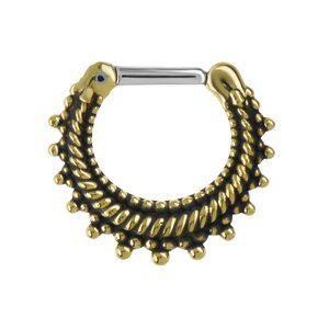 Septum piercing Surgical Steel 316L Brass Eternal Loop Eternity Spiral Stripes Grooves Rills Tribal_pattern