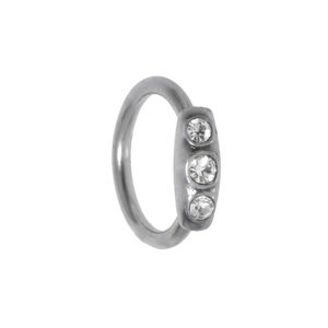 Pin Surgical Steel 316L Crystal silver-plated brass